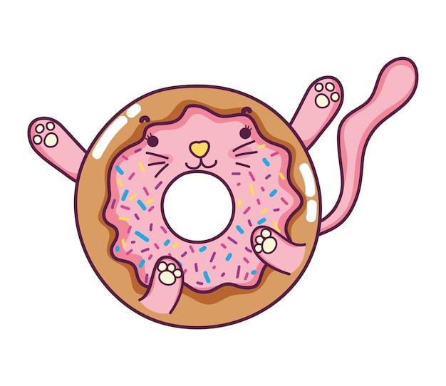 Lanche de donut de gato agradável kawaii
