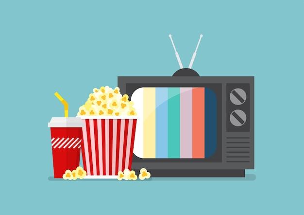 Lanche de pipoca e bebida com televisão retrô