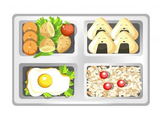 Lancheira de rolos de sushi japoneses das refeições do bento, ovos e arroz com salada.