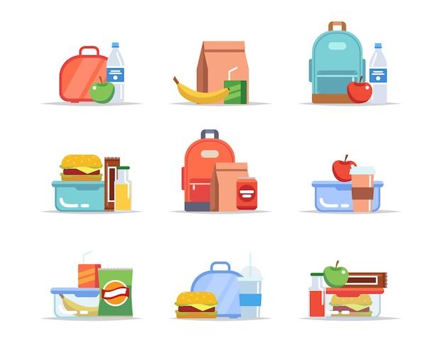 Lancheira - diferentes tipos de almoços, merenda escolar e lanche, bandejas de almoço para crianças