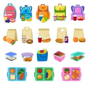 Lancheira escolar de vetor de caixa de almoço com alimentos saudáveis frutas ou legumes