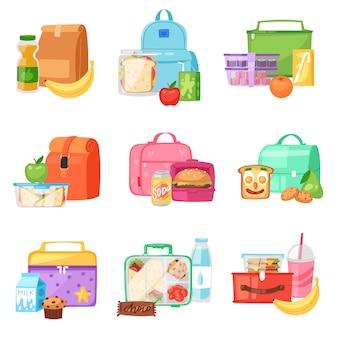 Lancheira escolar lancheira com alimentos saudáveis frutas ou legumes em caixas no recipiente de crianças em conjunto de ilustração de saco