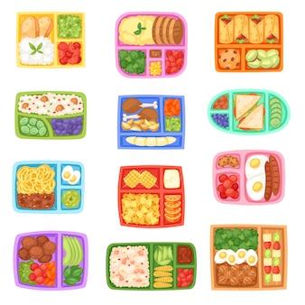 Lancheira escolar lancheira com alimentos saudáveis legumes ou frutas em caixas na ilustração de recipiente de crianças