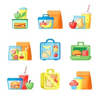 Lancheiras com sanduíches e frutas planas conjunto de ilustrações
