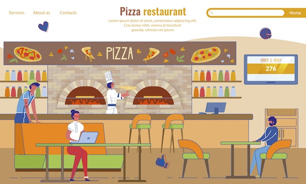 Landing page advertising pizza restaurante