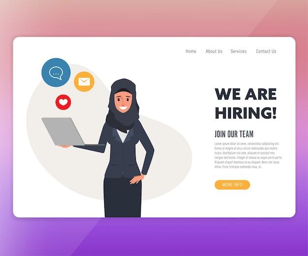 Landing page árabe pessoas contratando e recrutamento on-line.