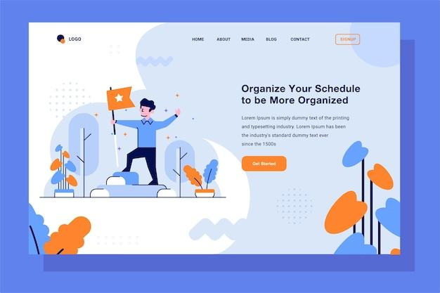 Landing page business achievement vencedor do victory peak melhor segurando bandeira estilo de design de contorno plano