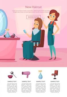 Landing page com cabeleireiro, fazendo um corte de cabelo para um cliente no salão de beleza com mesa e espelho