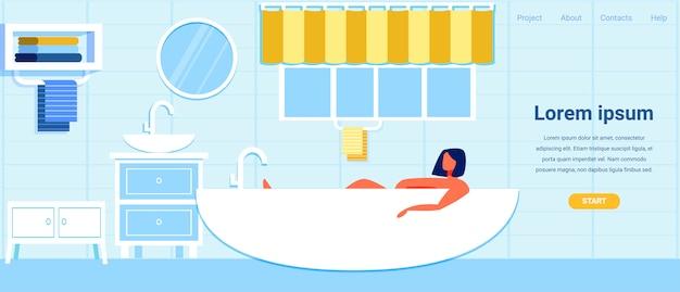 Landing page com cartoon mulher relaxante no banho