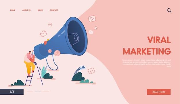 Landing page com homem e megafone referenciando um amigo conceito de design, site com personagem de pessoas compartilhe informações sobre indicações e ganhe dinheiro. web, interface do usuário, aplicativo móvel, modelo.