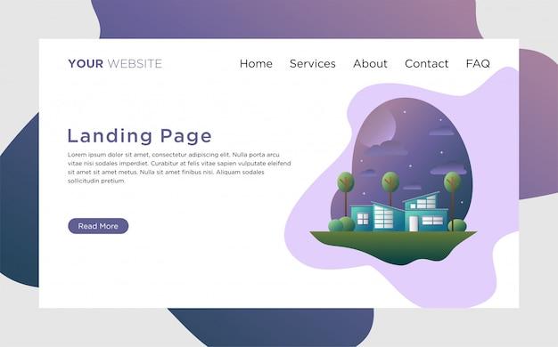 Landing page com ilustração de residência