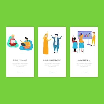 Landing page design - negócios, celebração e fórum