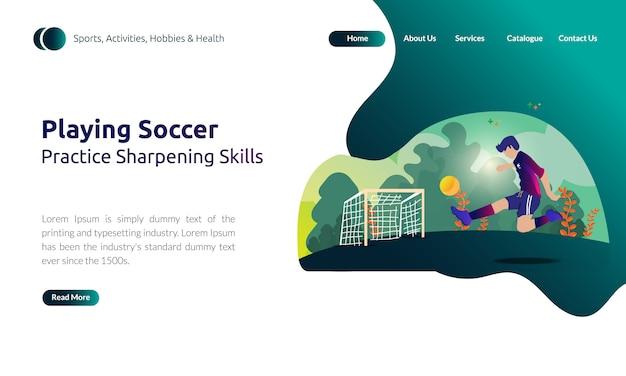 Landing page do homem jogando futebol, pratique habilidades de afiação