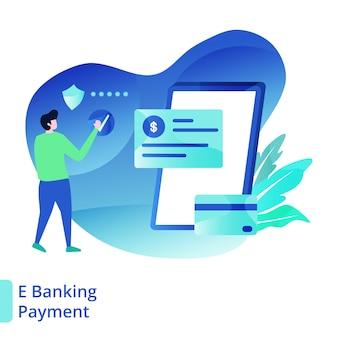 Landing page e ilustração de pagamento bancário