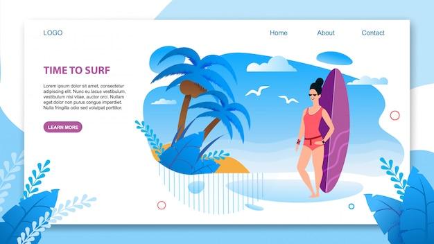 Landing page em estilo tropical plano oferecendo surf.