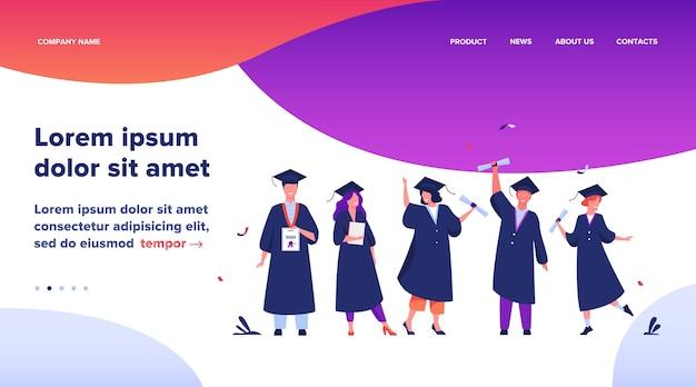 Landing page, happy diversos alunos celebrando a formatura em uma escola ou faculdades, com diplomas e certificados. ilustração em vetor plana para educação, festa universitária, conceito de sucesso acadêmico