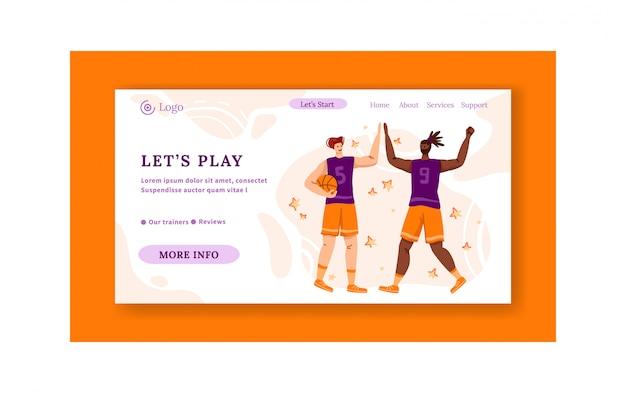 Landing page - jogadores de basquete com bola e copie o espaço ou o texto, homens atléticos musculares