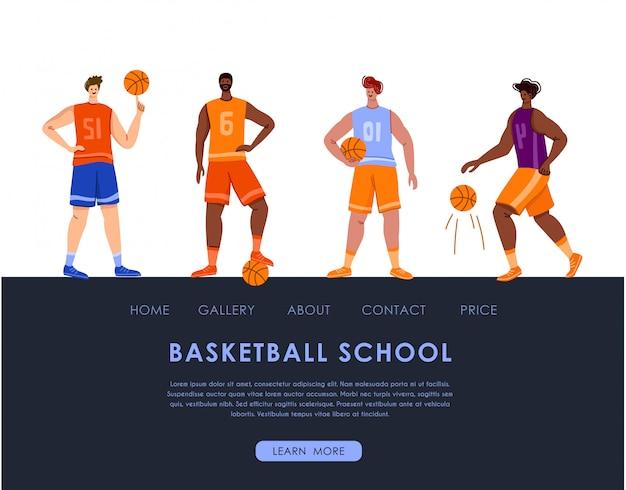 Landing page - jogadores de basquete com espaço para bola e cópia, lugar de texto, homens atléticos musculares em uniforme esporte