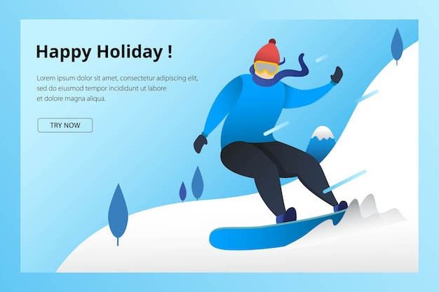Landing page modelo de esporte de snowboard para inverno olímpico