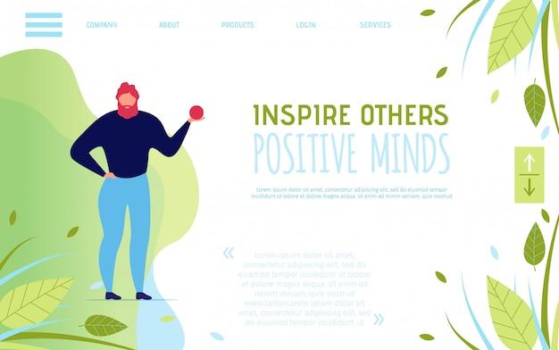 Landing page motivando a pensar positivamente e inspirar os outros