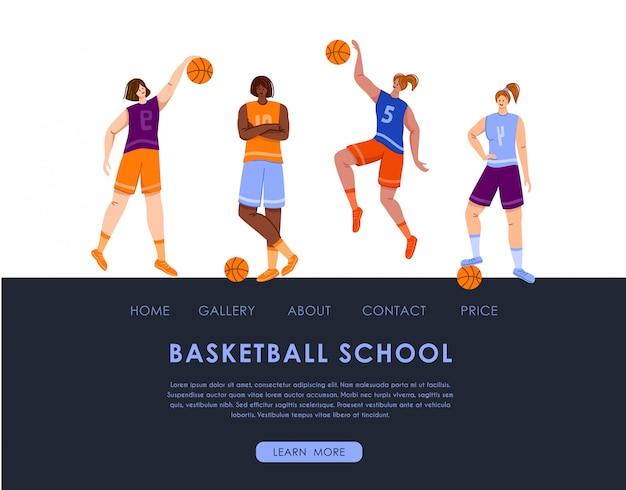 Landing page - mulheres jogadores de basquete com espaço para copiar e bola, texto local, musculares atléticas meninas