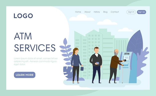 Landing page of atm services
