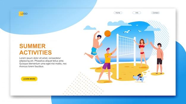 Landing page oferece atividades de verão para a organização