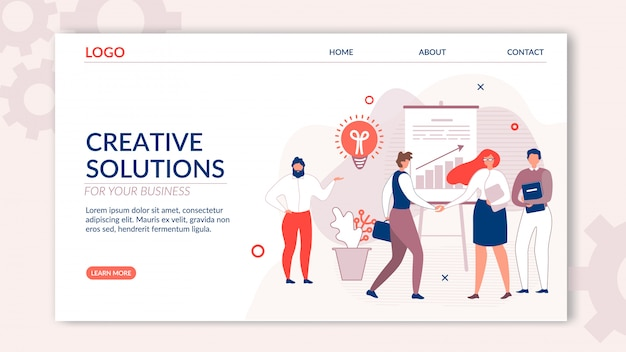 Landing page oferece soluções criativas para empresas