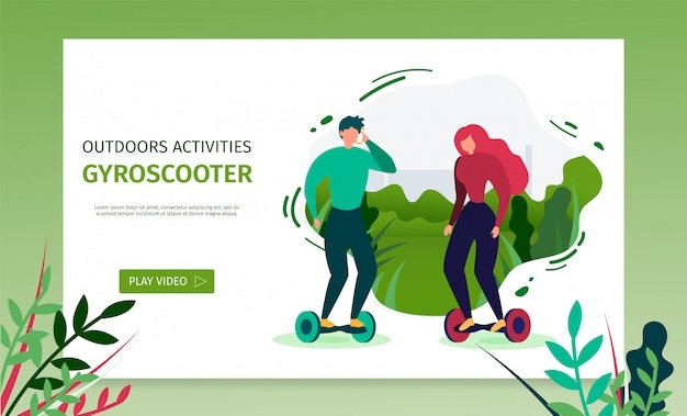 Landing page oferece tempo gasto no gyroscooter