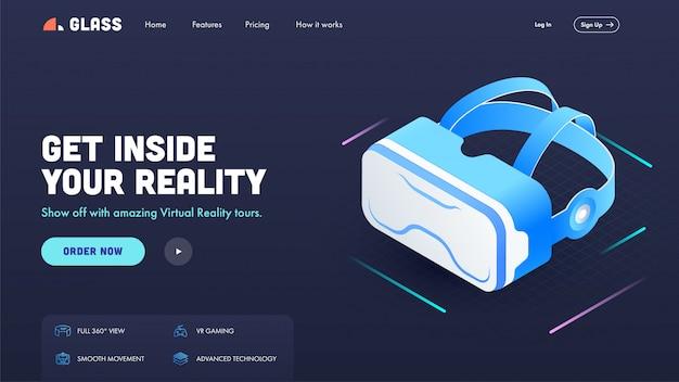 Landing page ou hero shot com óculos vr em azul para entrar na sua realidade.