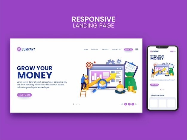 Landing page ou web banner design com smartphone para crescer o conceito de dinheiro.