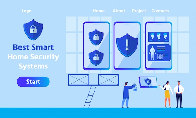 Landing page para smart home security system app