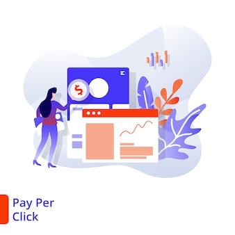 Landing page pay per click ilustração moderna, marketing digital
