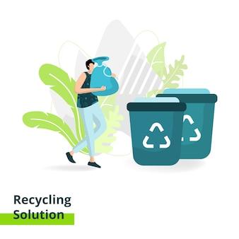 Landing page recycling solution, o conceito de homens carregando lixo