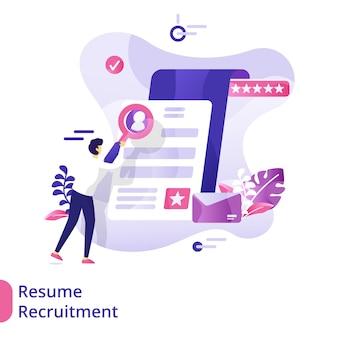 Landing page resume recruitment ilustração conceito