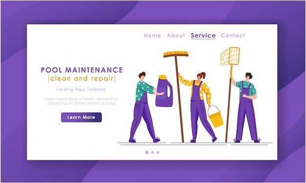Landing page - serviço de manutenção ou limpeza de piscinas, grupo de pessoas em miniatura de uniforme, produtos de limpeza