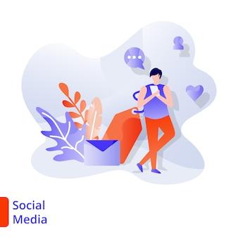 Landing page social media ilustração moderna, marketing digital