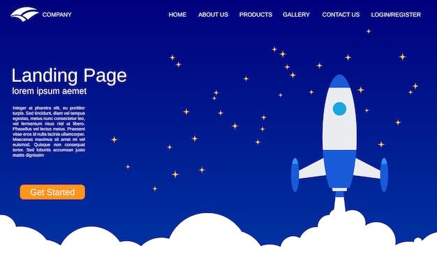 Landing page template for business startup design plano estilo vetor conceito ilustração