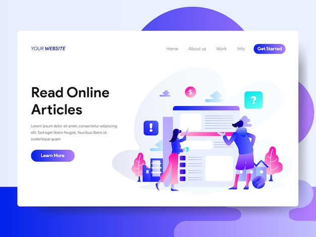 Landing page template of leia o conceito de artigos on-line