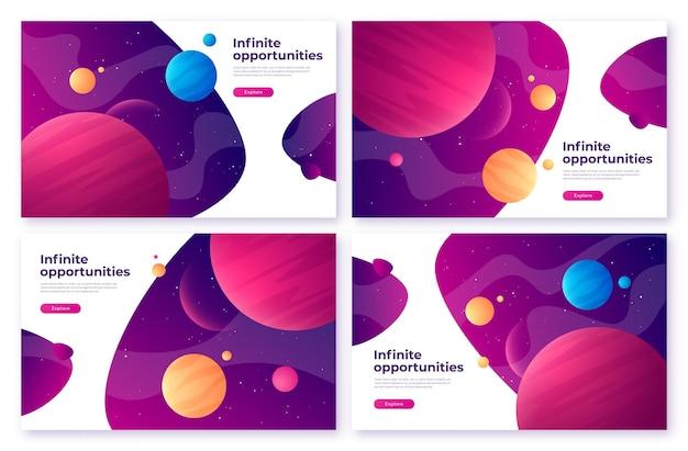 Landing page template sobre o tema espaço, exploração, tecnologias, realidade virtual e aumentada. ilustração vetorial