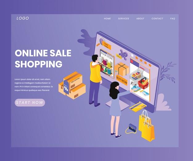 Landing page template with artwork conceito de compras de venda