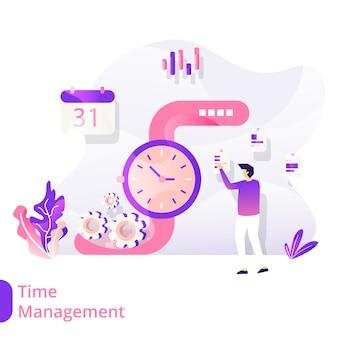 Landing page time management vector ilustração conceito moderno