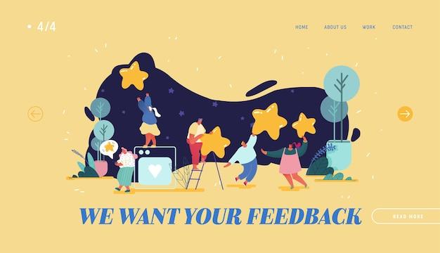 Landing page, web design, banner com mulher deixando a melhor avaliação. experiência ou satisfação do cliente, feedback positivo, classificação de cinco estrelas, análise e avaliação de produto ou serviço.