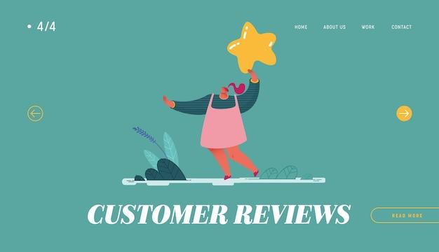 Landing page, web design, banner com mulher deixando a revisão. experiência e satisfação do cliente, feedback positivo, classificação de cinco estrelas, análise e avaliação de produto ou serviço.