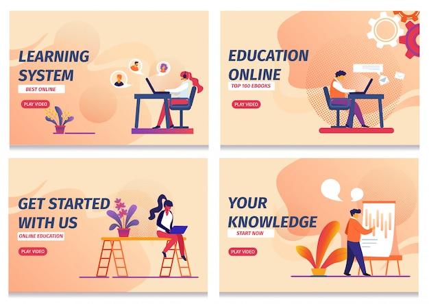 Landing page web template set, sistema de aprendizagem, iniciar educação online, conhecimento