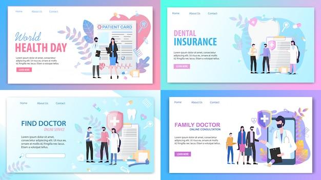 Landing pages. consulta on-line família encontrar serviço médico