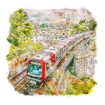 Landungsbrucken hamburgo alemanha desenho em aquarela ilustração desenhada à mão
