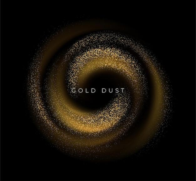 Lantejoulas douradas purpurina poeira redemoinho no preto.