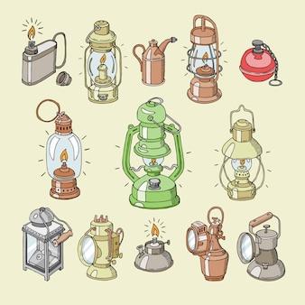 Lanterna antiga luz lâmpada ou isqueiro vintage ou lanterna para iluminação ilustração conjunto leve de isqueiro para ignição ardente em fundo
