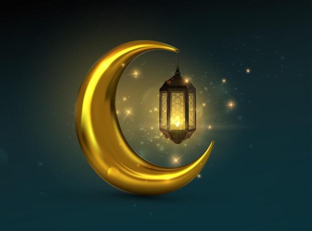 Lanterna árabe brilhante com lua crescente dourada